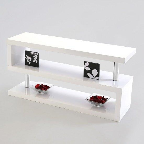 Miami Lcd Tv Stand In White High Gloss 16400 Furniture In With Regard To Latest White High Gloss Tv Unit (Image 9 of 20)