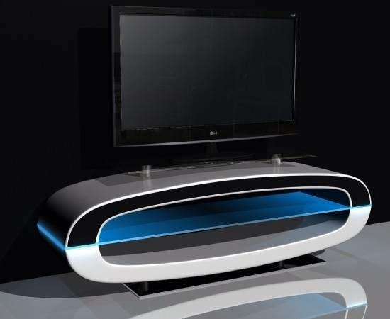 Michigan Tv Stand High Gloss White With Speakers And Usb Inside Most Up To Date White Gloss Oval Tv Stands (Image 9 of 20)