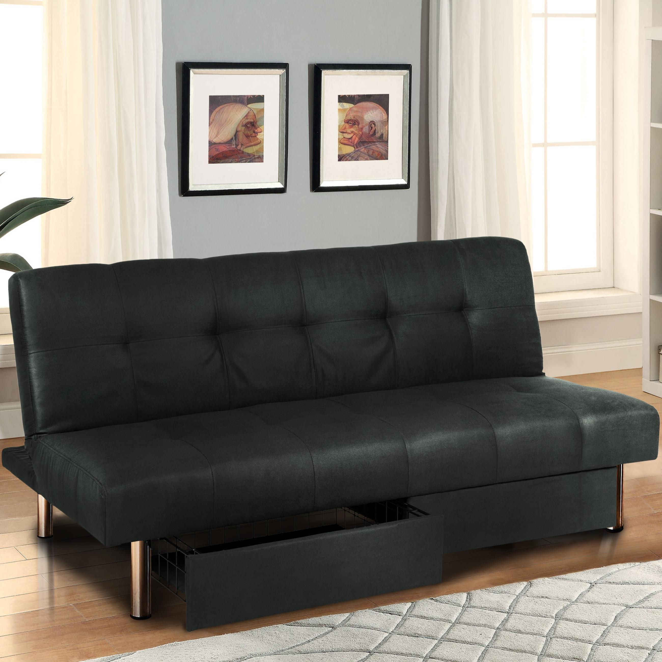 Microfiber Futon Folding Sofa Bed Couch Mattress & Storage Throughout Sofa Lounger Beds (View 4 of 20)