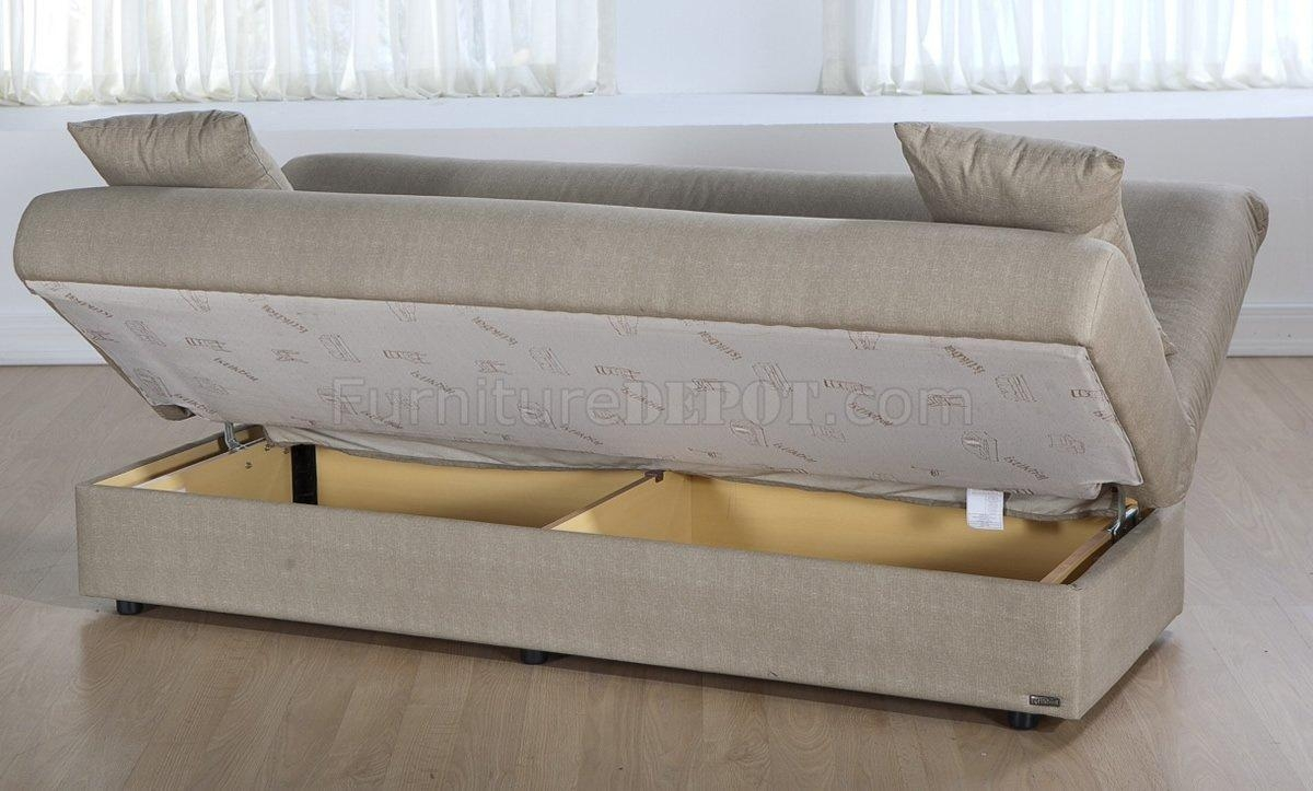 Microfiber Modern Convertible Sofa Bed W/storage Throughout Sofa Beds With Storages (View 9 of 20)