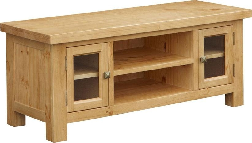 Midway Pine Large Tv Unit | Oak Furniture Solutions For Recent Pine Tv Cabinets (Image 8 of 20)