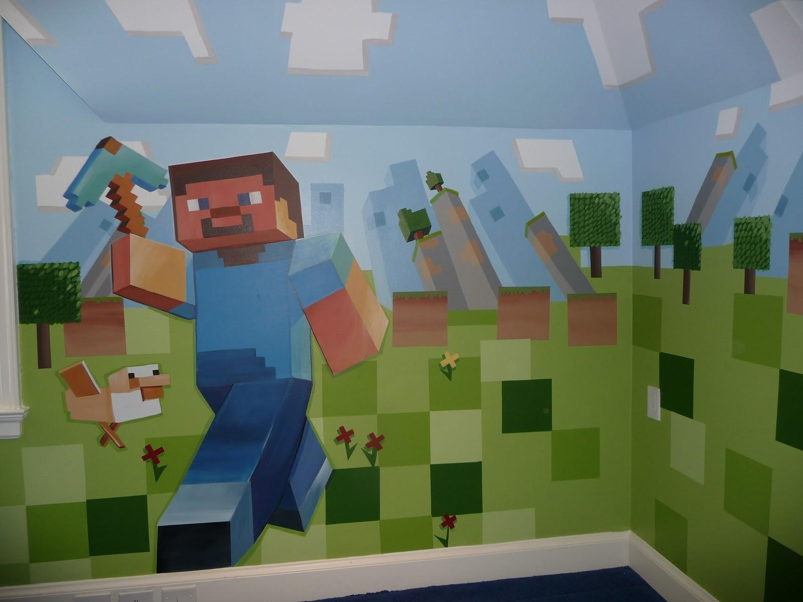 Minecraft Bedroom Wall Designs | Memsaheb With Regard To Minecraft Wall Art Uk (Image 10 of 20)