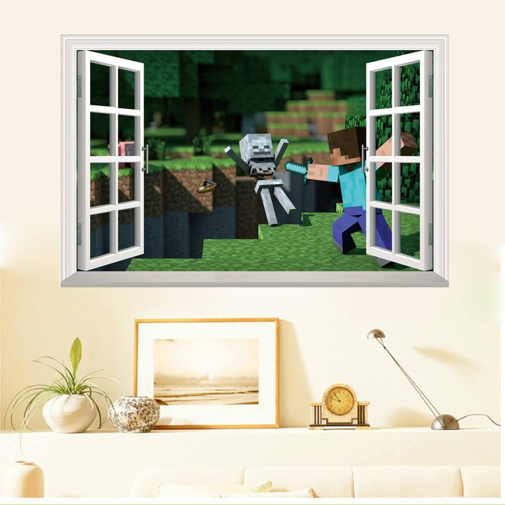 Minecraft Wall Stickers | 3D Wall Decals Ireland | Boys Room Within Wall Cling Art (Image 15 of 20)