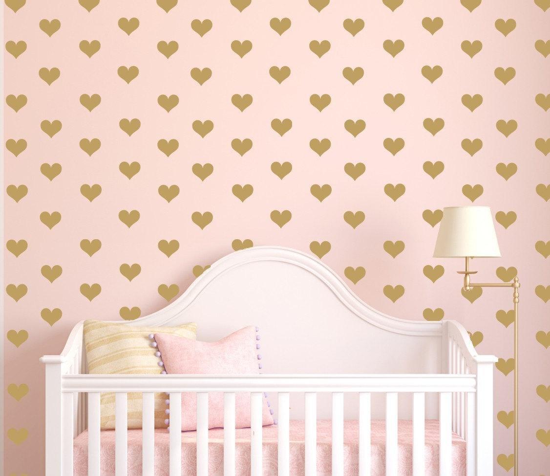 Mini Heart Decals, Gold Hearts, Tiny Hearts Sticker Wall Art, Mini Regarding Gold Wall Art Stickers (View 20 of 20)