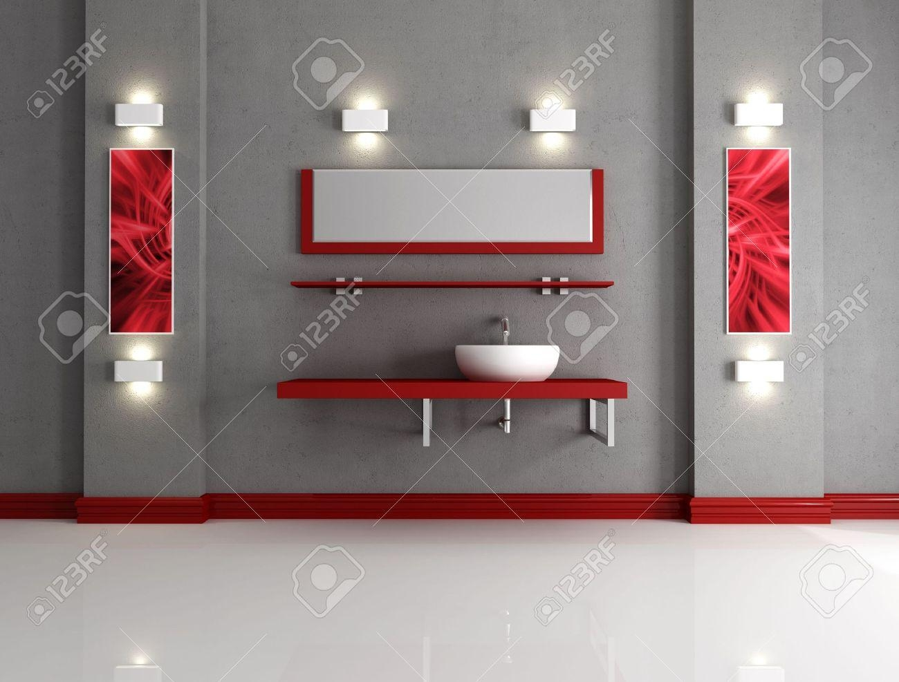 Minimalist Grey And Red Bathroom – Rendering  The Art Picture Inside Red Bathroom Wall Art (Image 12 of 20)