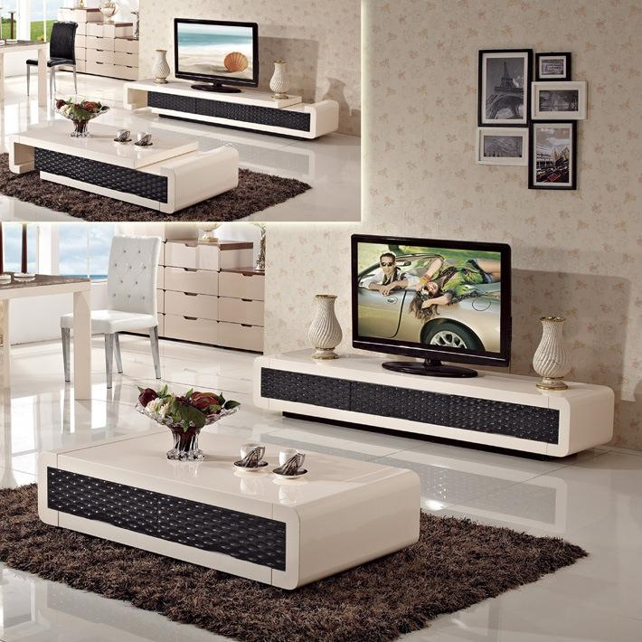 Minimalist Living Room Set Folding Retractable Glass Coffee Table Throughout Current Tv Unit And Coffee Table Sets (Image 12 of 20)