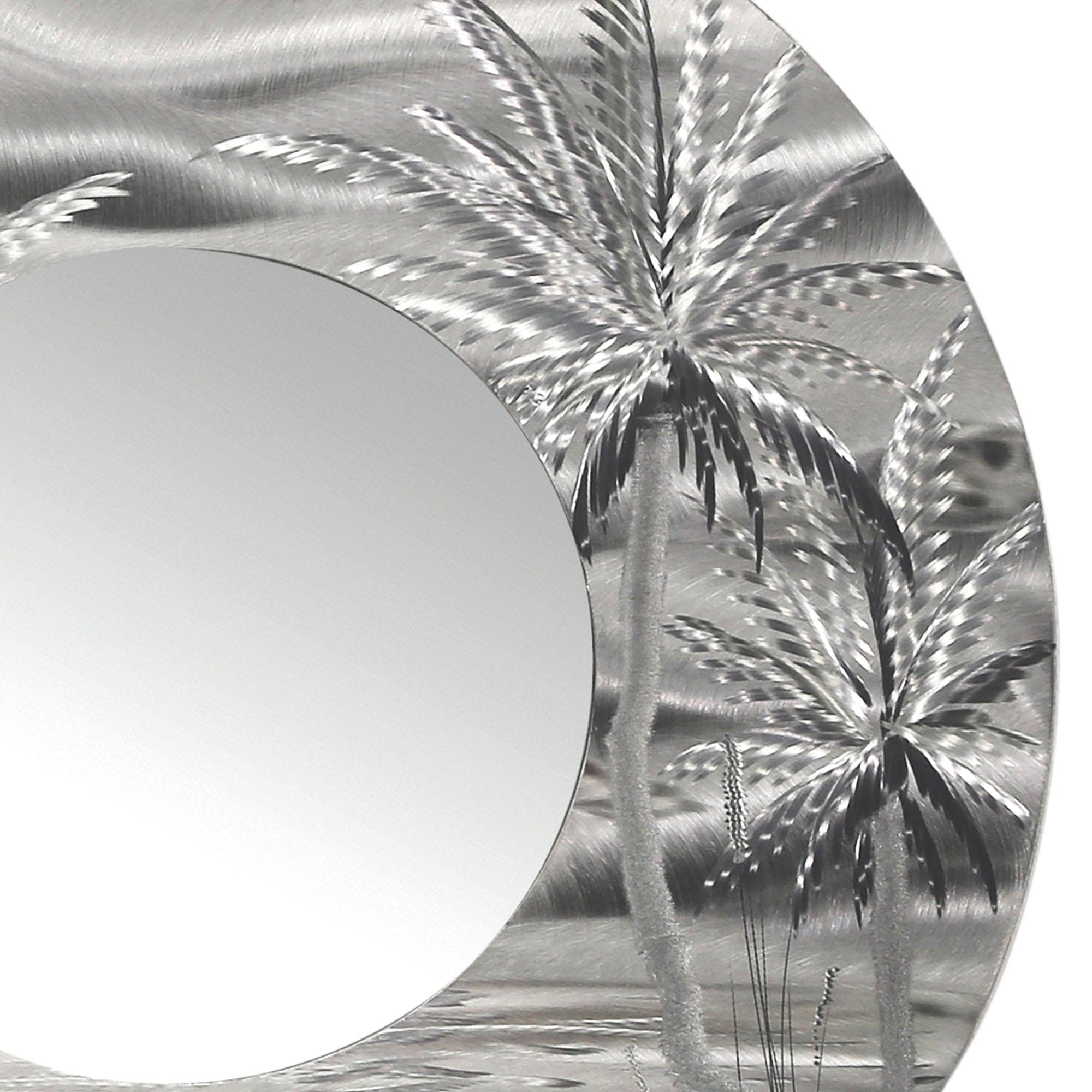 Mirror 106 – Modern Tropical Metal Wall Mirror – Silver Abstract With Palm Tree Metal Wall Art (Image 10 of 20)