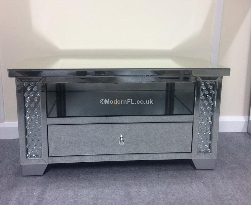 Mirrored Crystal Gem Corner Tv Stand throughout Best and Newest Grey Corner Tv Stands