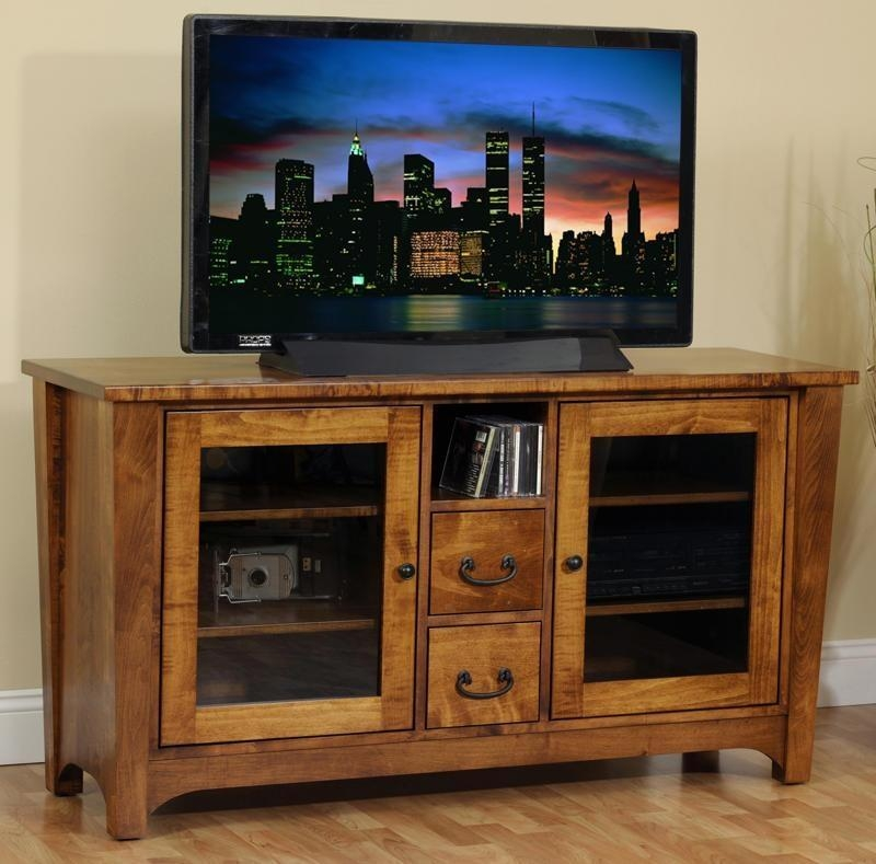 Mission Amish Made Tv Stands From Dutchcrafters Amish Furniture With Latest Oak Tv Stands With Glass Doors (Image 12 of 20)