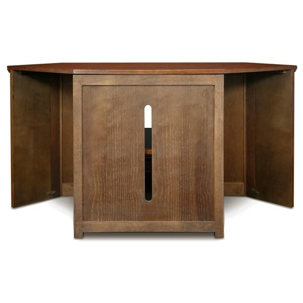 Mission Oak 46 Inch Corner Tv Stand & Media Console – Free Throughout 2018 Corner Wooden Tv Stands (View 16 of 20)
