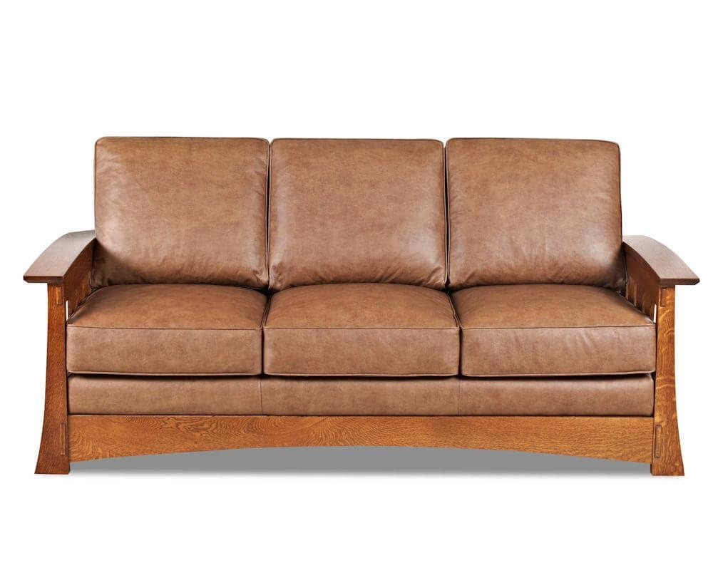 Mission Style Leather Sleeper Sofa American Made Cl7016Dqsl Inside American Sofa Beds (Image 17 of 22)
