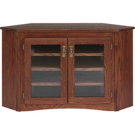Mission Style Solid Oak Corner Tv Stand – 47″ – The Oak Furniture Shop Throughout 2017 Solid Oak Tv Stands (Image 13 of 20)