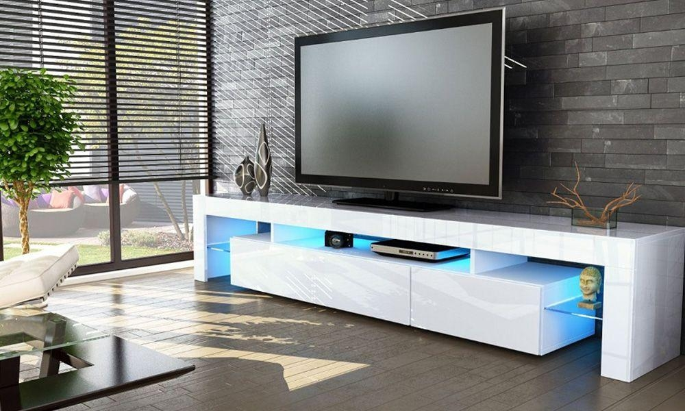 Mmilo 180Cm Modern Large Tv Cabinet – Satin White Pertaining To Most Recent Large Tv Cabinets (Image 14 of 20)