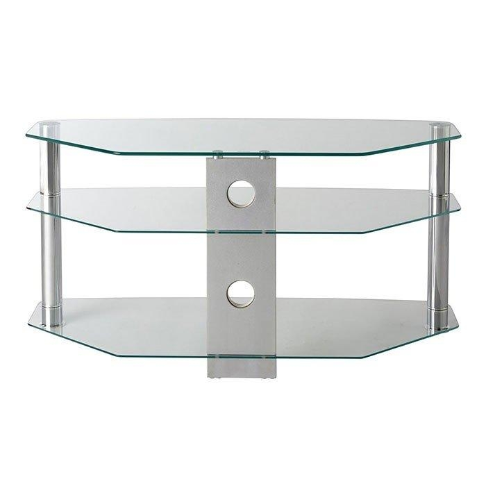 Mmt Cl1000 Jet Premium Clear Glass Corner Tv Stand For Screens Up Throughout Best And Newest Oval Glass Tv Stands (Image 11 of 20)