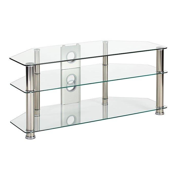 Mmt P5Cch1250 Rome Extra Large Clear Glass Corner Tv Stand For Inside Newest Clear Glass Tv Stand (Image 11 of 20)