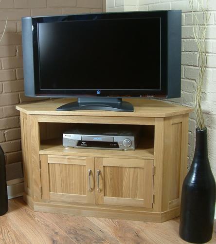 Mobel Oak Contemporary Solid Oak Widescreen Corner Tv Cabinet In Most Popular Widescreen Tv Cabinets (Image 11 of 20)