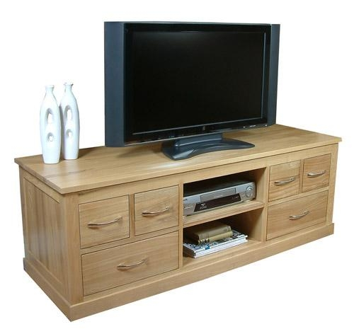 Mobel Oak Contemporary Solid Oak Widescreen Tv Cabinet Pertaining To Newest Oak Widescreen Tv Unit (Image 14 of 20)