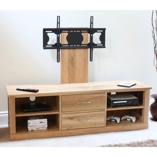 Mobel Oak Flat Screen Tv Stand With Mount Inside Recent Tv Stands In Oak (Image 9 of 20)