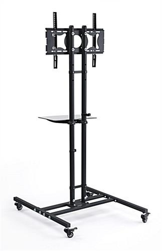 Mobile Tv Stand | Black Floor Display With Shelf In Current Tv Stands With Bracket (Image 13 of 20)