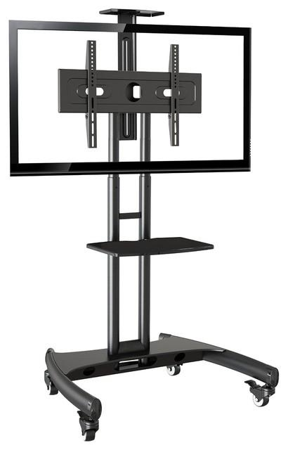 "Mobile Tv Stand Rolling Cart With Universal Mount For Tv 32"" 65 Within Latest 65 Inch Tv Stands With Integrated Mount (Image 8 of 20)"