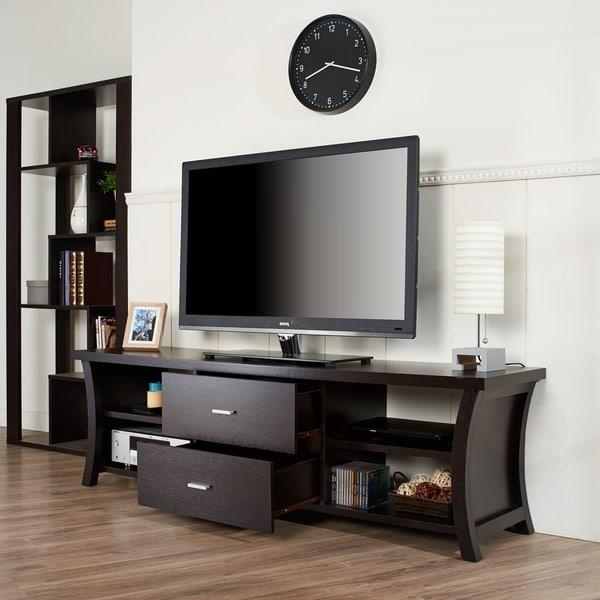 Modern 2 Drawer Tv Stand With Open Shelving – Free Shipping Today For Most Recent Open Shelf Tv Stands (Image 13 of 20)