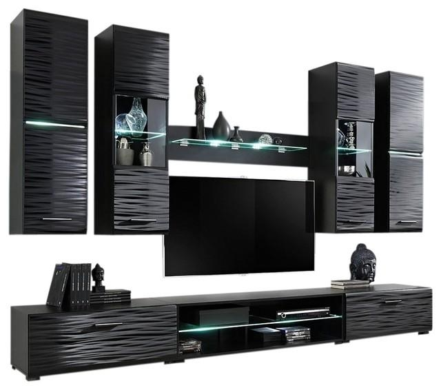 """Modern 4 Entertainment Center Wall Unit With Led Lights 50"""" Tv Within Most Current Modern Tv Entertainment Centers (Image 10 of 20)"""