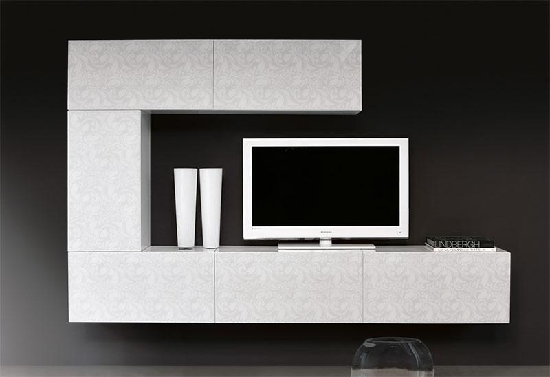 Modern 6 Cabinet White And Floral Pattern Unico Tv Unit Intended For Most Recently Released Funky Tv Cabinets (Image 13 of 20)