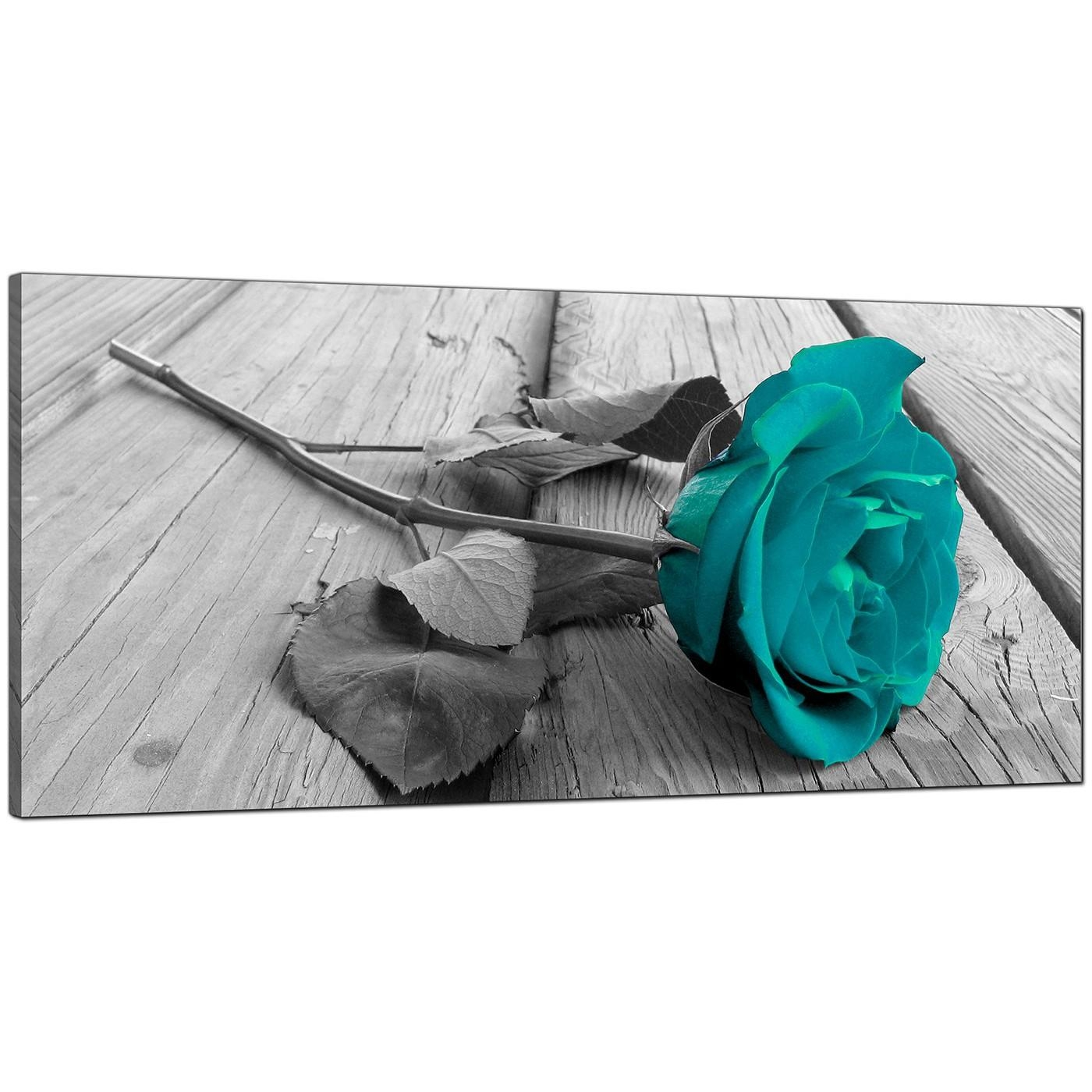 Modern Black And White Canvas Wall Art Of A Teal Rose Flower In Teal Wall Art Uk (View 18 of 20)