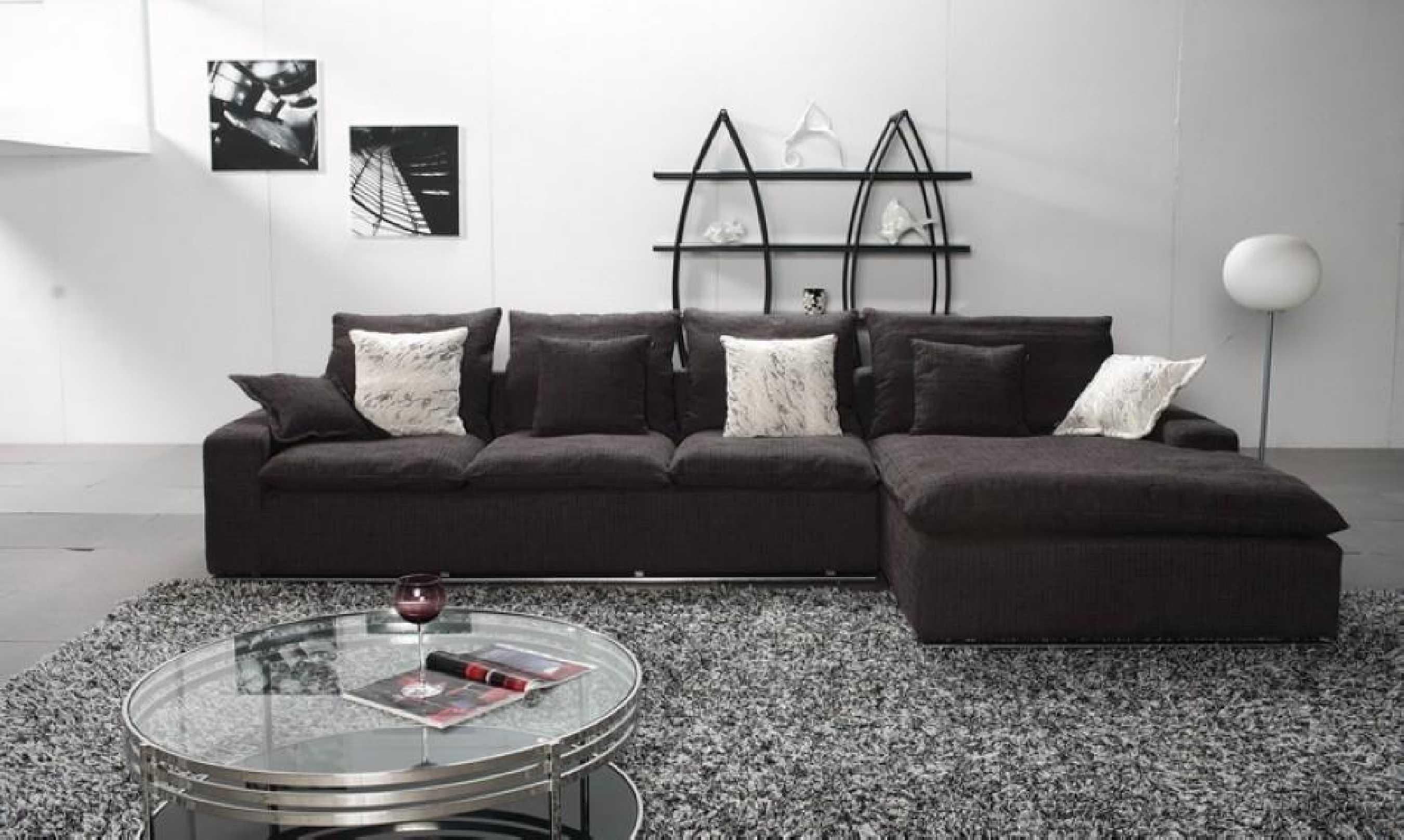 Modern Black Fabric Modular Sofa With Chaise Lounge Of Captivating With L Shaped Fabric Sofas (View 13 of 20)