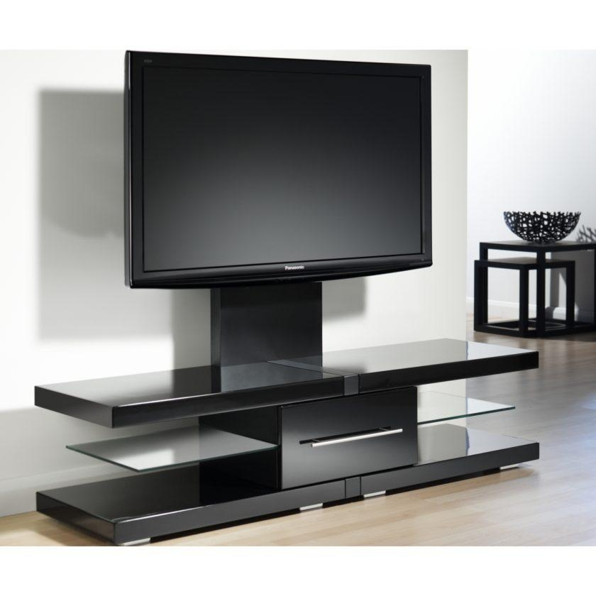 Modern Black Tone Wide Screen Tv Stand With Display Shelves And In Newest Wide Screen Tv Stands (Image 14 of 20)