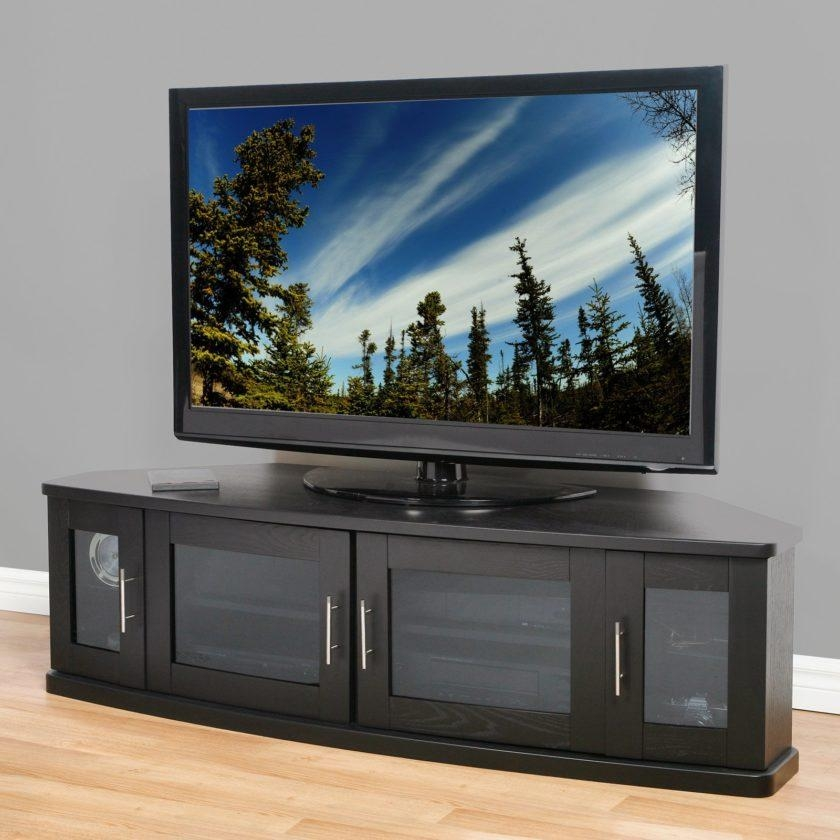 Modern Black Wooden Tv Stand With Frosted Glass Doors Of Dazzling With Regard To Most Up To Date Black Tv Stand With Glass Doors (View 6 of 20)
