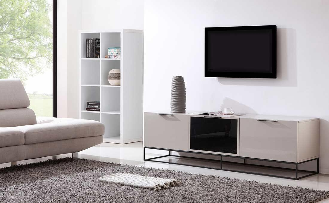 Modern Cream Black Tv Stand Bm35 | Tv Stands Inside 2017 White And Black Tv Stands (Image 12 of 20)