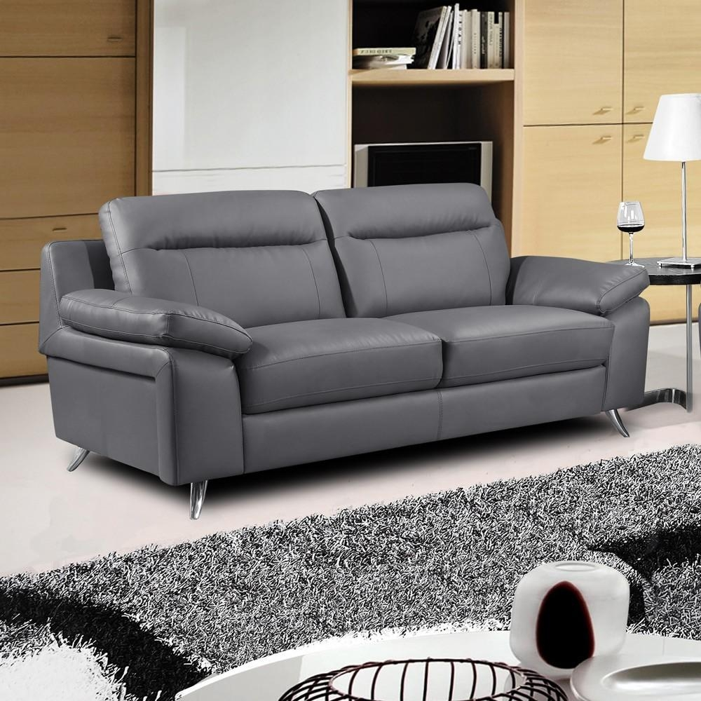 Modern Dark Gray Leather Sofa Stylish Chrome Feet Finish Smooth With Regard To Leather Sofas (Image 18 of 21)