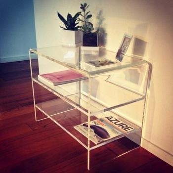 Modern Design Clear Acrylic Tv Stand With 2 Shelves Perspex End Intended For Recent Acrylic Tv Stands (Image 18 of 20)