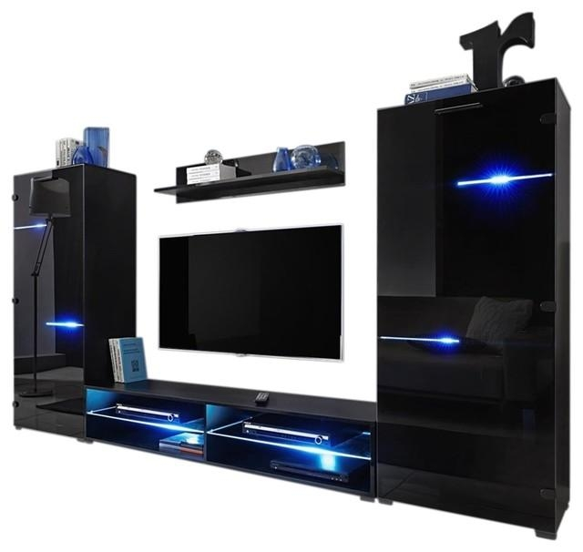 """Modern Entertainment Center Wall Unit With Led Lights 65"""" Tv Stand For Most Recently Released Modern Tv Entertainment Centers (Image 13 of 20)"""
