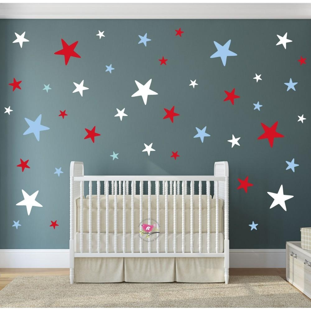 Modern Geometric Nursery Wall Art Sticker Stars Intended For Red White And Blue Wall Art (View 16 of 20)