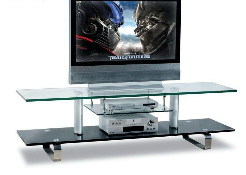 Modern Glass Tv Stand With Chrome Legs – $ (View 18 of 20)