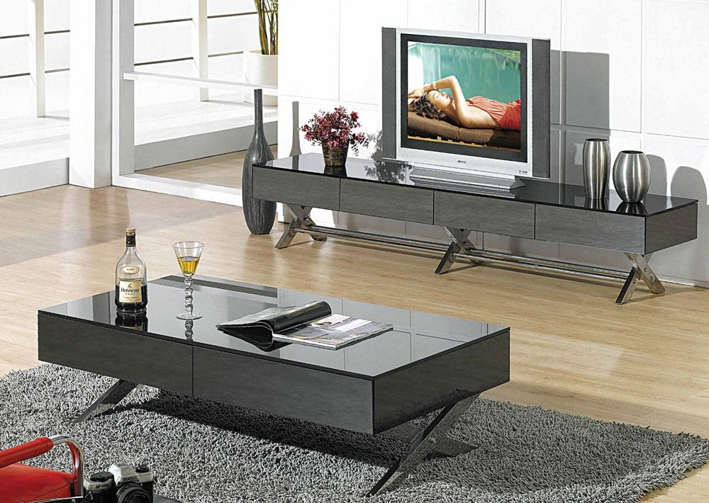 Modern Glossy Gray Tv Stand Cr059 | Tv Stands Regarding Newest Coffee Tables And Tv Stands (View 4 of 20)