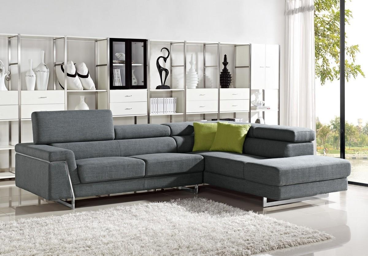 Modern Grey Fabric Sectional Sofa Set Throughout Cloth Sectional Sofas (View 8 of 21)