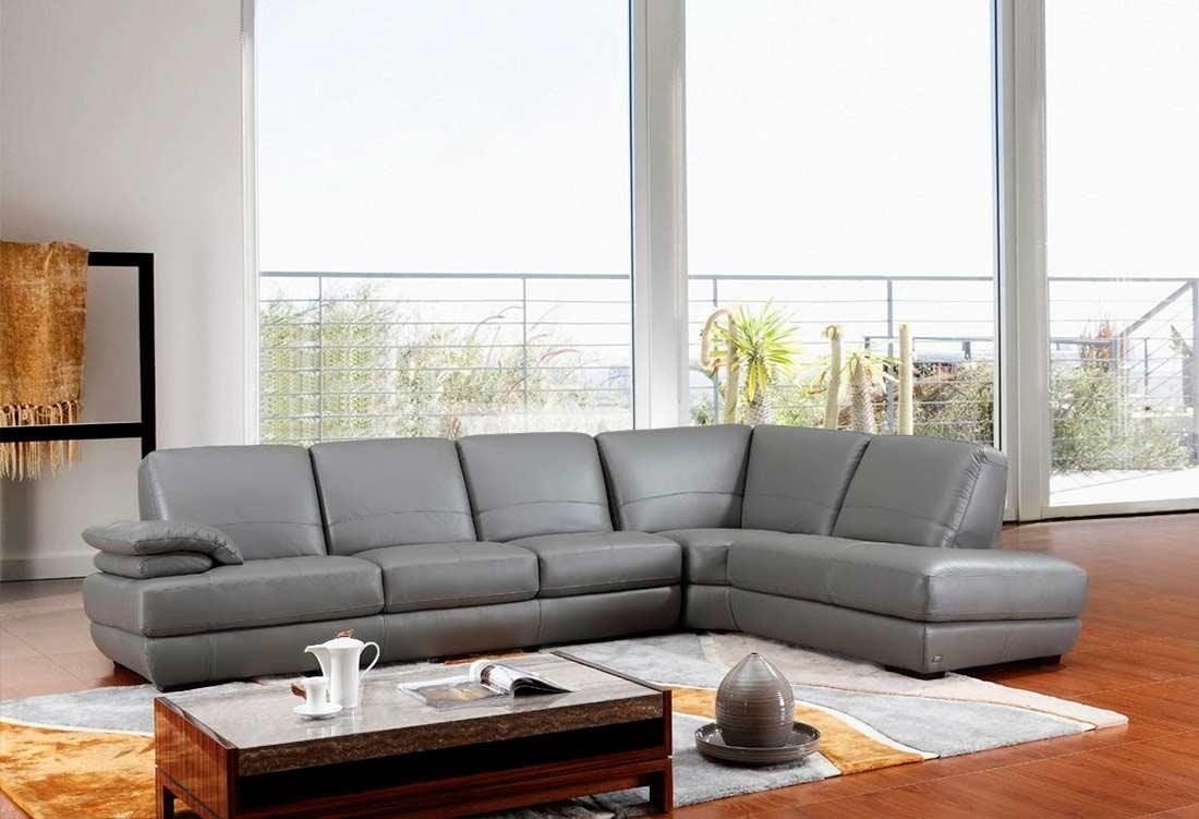 Modern Grey Italian Leather Sectional Sofa Vg208 | Leather Sectionals Pertaining To Gray Leather Sectional Sofas (Image 17 of 21)