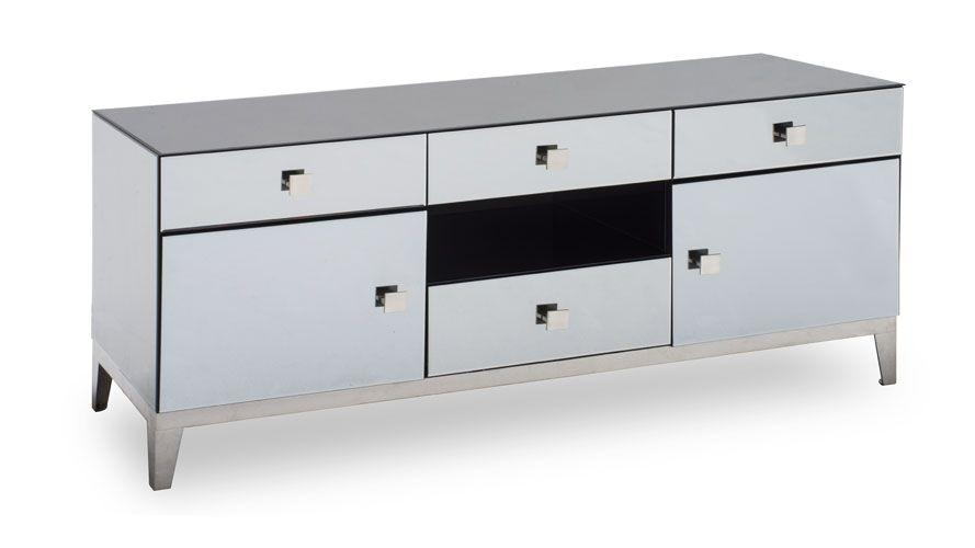 Modern Grey Mirrored Glass Berlin Tv Stand | Zuri Furniture Inside Recent Mirrored Tv Stands (Image 15 of 20)