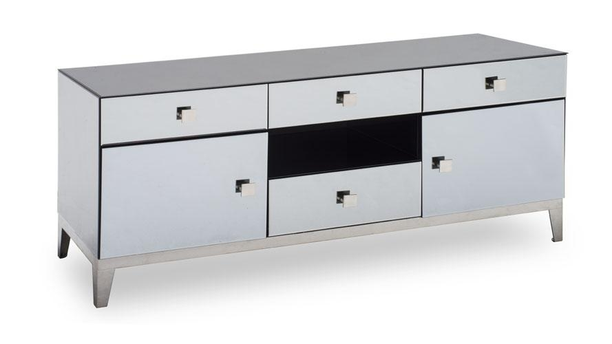 Modern Grey Mirrored Glass Berlin Tv Stand | Zuri Furniture With Regard To Recent Mirrored Tv Cabinets (View 5 of 20)