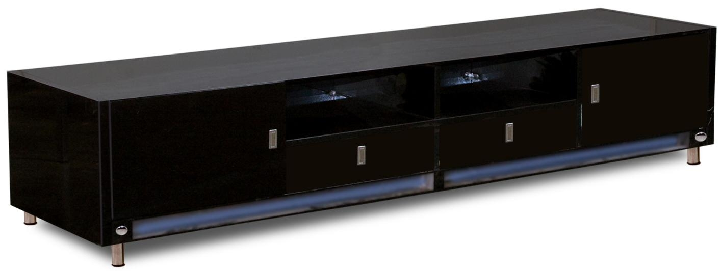 Modern Ikea Low Profile Tv Stand With Black Wooden Material Feat 2 In Most Up To Date Long Black Tv Stands (Image 14 of 20)