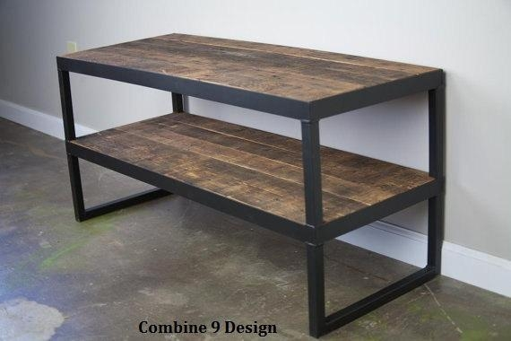 Modern Industrial Tv Stand. Reclaimed Wood & Steel (Image 12 of 20)