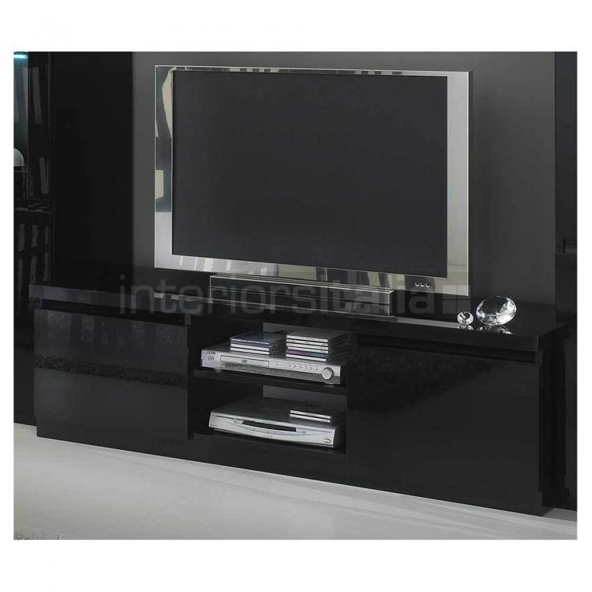 Modern Italian Tv Units | High Gloss Tv Stands | On Sale Now! Inside Newest Black Gloss Tv Cabinet (Image 8 of 20)