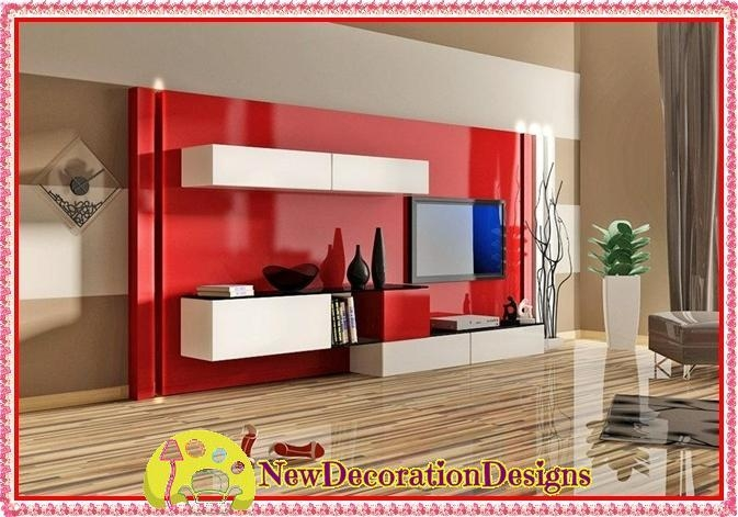 Modern Lacquered Tv Wall Units And Red Tv Unit Designs | New Within 2017 Red Tv Units (Image 9 of 20)