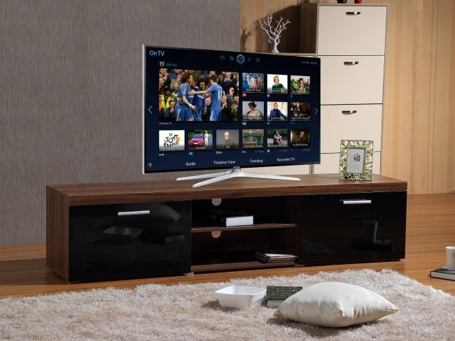 Modern Large 2M Tv Stand Cabinet Unit With High Gloss Doors Black Regarding Best And Newest Walnut Tv Cabinets With Doors (Image 11 of 20)