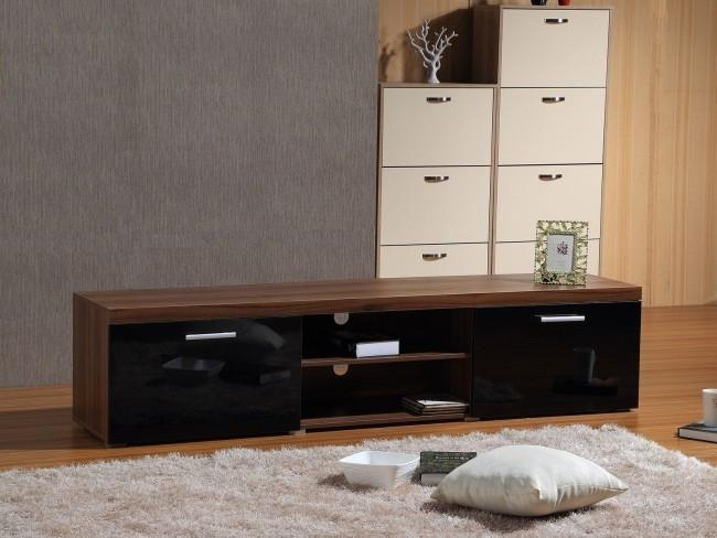 Modern Large 2M Tv Stand Cabinet Unit With High Gloss Doors Black With Recent Walnut Tv Cabinets With Doors (Image 12 of 20)