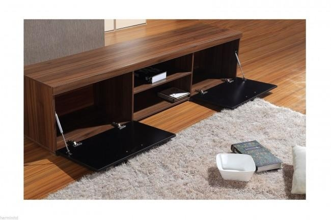Modern Large 2M Tv Stand Cabinet Unit With High Gloss Doors Black With Regard To Most Popular Walnut And Black Gloss Tv Unit (Image 12 of 20)
