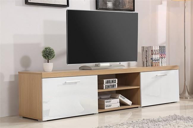 Modern Large 2M Tv Stand Cabinet Unit With High Gloss Doors White Regarding 2018 Walnut Tv Cabinets With Doors (Image 13 of 20)